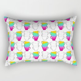 Tea Cup Pattern Rectangular Pillow