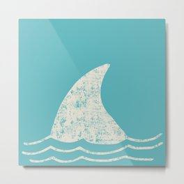 Beach Series Aqua - Shark Animal in the deep See Metal Print