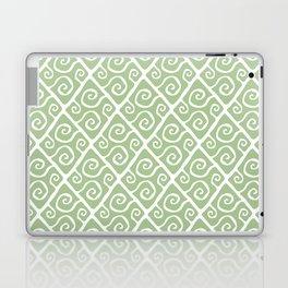 Mid Century Modern Diamond Swirl Pattern Sage Green Laptop & iPad Skin