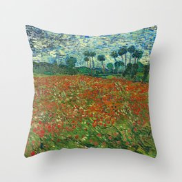 Vincent Van Gogh Poppy Field Throw Pillow