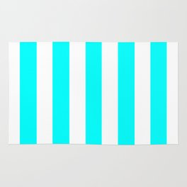 Electric cyan heavenly - solid color - white vertical lines pattern Rug