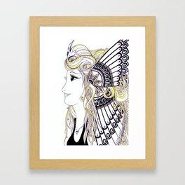 Yellow, Black and White Butterfly Fan Women Framed Art Print