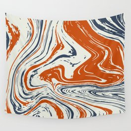 blue and orange marble abstract texture Pattern Wall Tapestry
