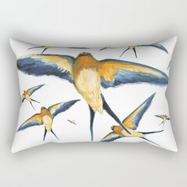 Flying around Swallows watercolours illustration Rectangular Pillow