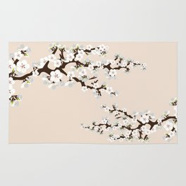Japanese Sakura Cherry Blossoms (ivory/white) Rug