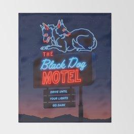 The Black Dog Motel Throw Blanket