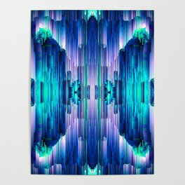 Cavernous Glitch - Abstract Pixel Art Poster