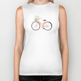 Coral Spring bicycle with flowers Biker Tank