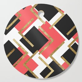 Chic Coral Pink Black and Gold Square Geometric Cutting Board