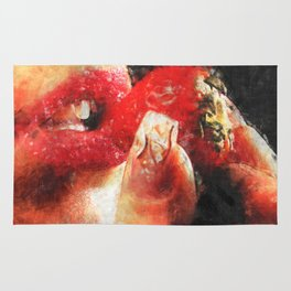 Sexy woman eating a strawberry Rug