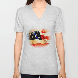 Baseball And Americn Flag Painting By Annie Zeno  Unisex V-Neck