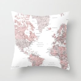 Dusty pink & grey watercolor world map cropped Throw Pillow
