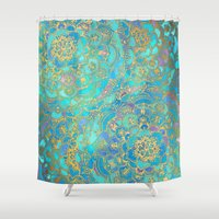 black Shower Curtains featuring Sapphire & Jade Stained Glass Mandalas by micklyn