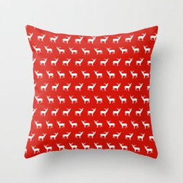 Christmas deer reindeer red and white minimal modern silhouette holiday pattern print design Throw Pillow