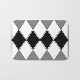 Shiny diamonds in black and white. Geometric abstract. Bath Mat