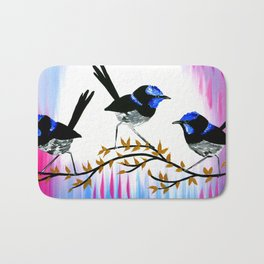 3 birds with pink and blue Bath Mat
