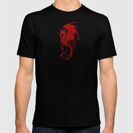 Flying Red and Black Tribal Dragon T-shirt