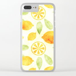 Lemons & Leaves Clear iPhone Case