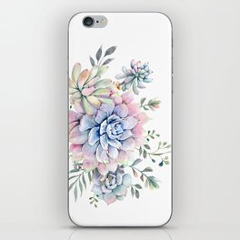 succulent watercolor 1 iPhone Skin
