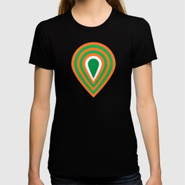 retro sixties inspired fan pattern in green and orange T-shirt
