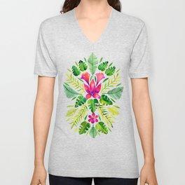 Tropical Symmetry – Pink & Green Unisex V-Neck