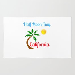 Half Moon Bay California Palm Tree and Sun Rug