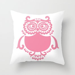 Pink Owl Throw Pillow
