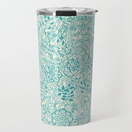 Detailed Floral Pattern in Teal and Cream Travel Mug