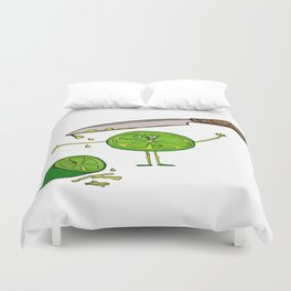 little lemon and the knife, knife, lemon, green, yellow, blood, scary Duvet Cover
