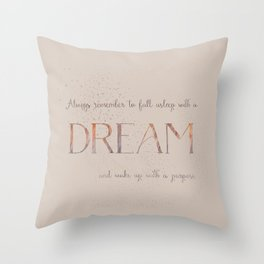 Always remember to fall asleep with a dream - Gold Vintage Glitter Typography Throw Pillow