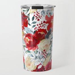 Red teal hand painted boho watercolor roses floral Travel Mug