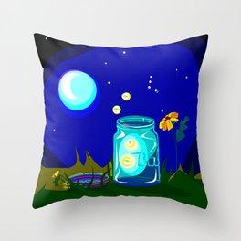 A Jar of Fireflies at Night Throw Pillow