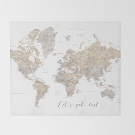"Let's get lost world map with cities ""Abey"" - SIZES LARGE & XL ONLY Throw Blanket"