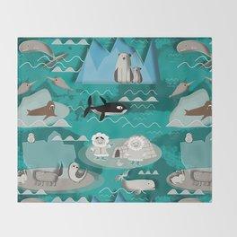 Arctic animals teal Throw Blanket