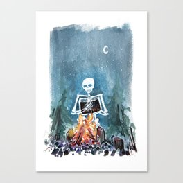 Skelly by the Campfire Canvas Print