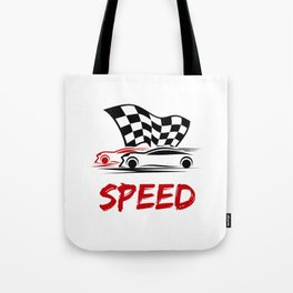 Speed - Race cars with race flag Tote Bag