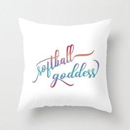 Softball Goddess Summer Ombre Throw Pillow