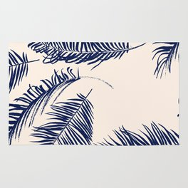 Blue Palm Leaves x Dry Brush Rug