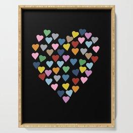 Hearts Heart Black Serving Tray