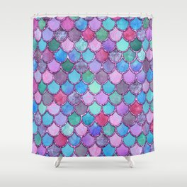 Colorful Pink Glitter Mermaid Scales Shower Curtain