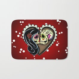 Ashes - Day of the Dead Couple - Kissing Sugar Skull Lovers Bath Mat