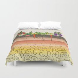 Earth soil layers vegetables garden cute educational illustration kitchen decor print Duvet Cover