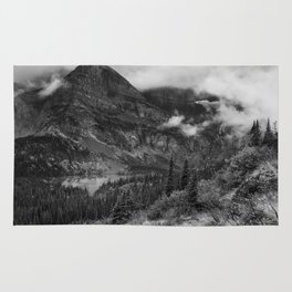 Grinnell Lake from the Trail No. 1 bw - Glacier NP Rug