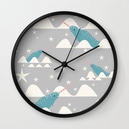 narwhal in ocean grey Wall Clock