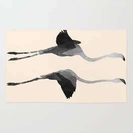 Flaying Gray Flamingos Rug