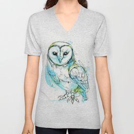 Aqua Tyto Owl Unisex V-Neck
