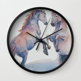 Fighting Stallions Wild Horse Wall Clock
