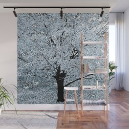 TREES WHITE ABSTRACT Wall Mural