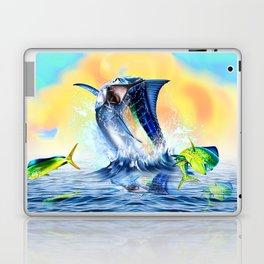 Jumpimg blue Marlin Chasing Bull Dolphins Laptop & iPad Skin