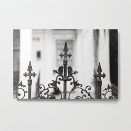 New Orleans Marigny Black and White Fence Metal Print
